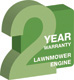 2 year warranty on this lawnmower's engine & parts