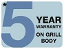 5 year warranty on this barbecue's grill body